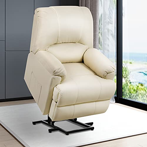 Lovinouse Electric Lift Recliner Chair for Elderly, Leather Recliner Chair with Full Body Vibration Massage and Heated Function, Ergonomic Reclining Sofa for Living Room Bedroom (Beige)