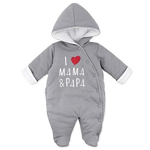 Baby Sweets Baby Winter Overall Unisex grau im Motiv: I Love Mama & Papa als Baby Schneeanzug mit Kapuze für Neugeborene & Kleinkinder in der Größe: 0-3 Monate (62)