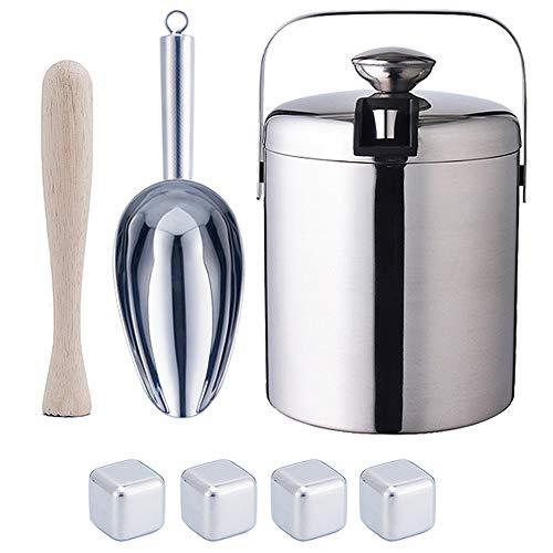 KUANDARMX Exquisit Eiskübel mit Deckel, kompakter Hochleistungs-Eiskübel mit Schaufel und Eiswürfel zum Kühlen von Wein- und Schnapsflaschen aus Edelstahl Geschenk