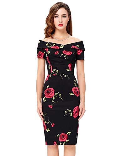 Belle Poque Women Vintage 1950s Elegant Off Shoulder One-Piece Dress DE117-1 L steampunk buy now online