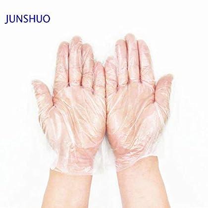 JUNSHUO 500 X Guantes de plástico guantes desechables de polietileno de calidad alimentaria,para comida, manualidades…