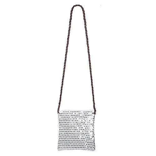 Boland 36005 Handtasche Sequins, Silber, 18 cm