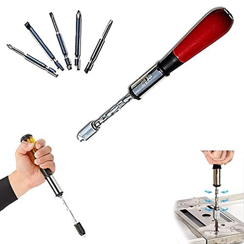 220mm Destornillador de Trinquete Push-pull, Kit de Destornillador Magnético con 5 Cabezas Reemplazables, Trinquete de Empuje Hacia Adelante Presionado a Mano Destornillador Semiautomático Para Casa