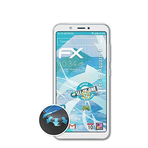 atFolix Schutzfolie kompatibel mit bq Aquaris C Folie, ultraklare & Flexible FX Bildschirmschutzfolie (3X)