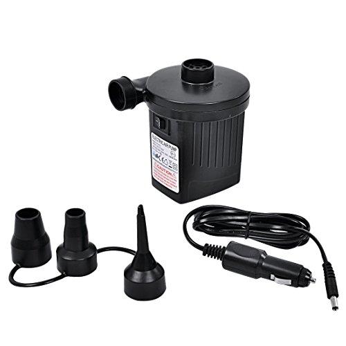 Jilong Elektro Luftpumpe 230V / 12V Luft-Kompressor 25mbar Elektrische Pumpe mit 3 Adapter Luftdüsen