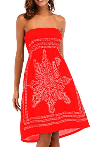 Beach Coverups for Women Strapless Terry Cloth Bohemian Mini Dress Red L
