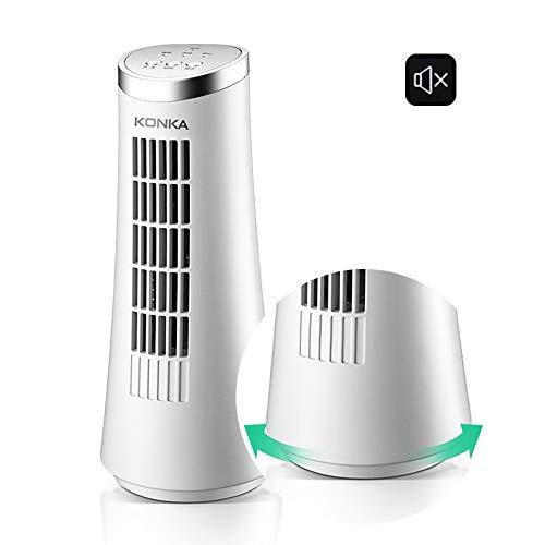 WEIDAOCHINA Ventilador Mini Torre (Giratorio, Adecuado para Colocar el Lado de la Cama, Escritorio), Silencio/Blanco 12 Pulgadas/Velocidad Ajustable