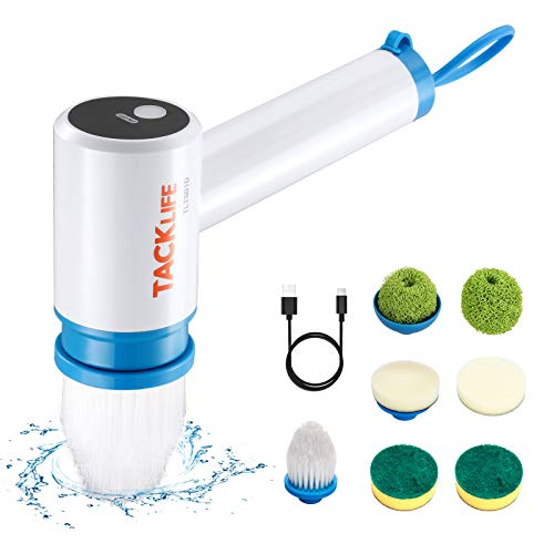 TACKLIFE Power Scrubber, 400 RPM Waterproof Shower Scrubber for Cleaning, Cordless Bathroom Scrubber with Rechargeable Battery, 7 Brush Heads Spin Scrubber for Dish Pans Bathtub Sink Grout - TLTS01D