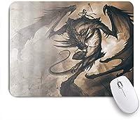 NIESIKKLAマウスパッド 悪魔ドラゴンギリシャ神話悪魔ドラゴン動物テーマ ゲーミング オフィス最適 高級感 おしゃれ 防水 耐久性が良い 滑り止めゴム底 ゲーミングなど適用 用ノートブックコンピュータマウスマット