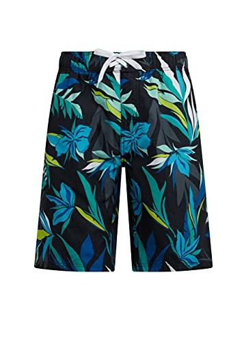 Kanu Surf Men's Seaside Swim Trunks (Regular & Extended Sizes), Seaweeds Black, Large
