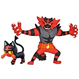 liuyb 2 Pz / Set Pokemon Figura Litten Torracat Incineroar Action Figure Giocattoli Anime Litten Evolution Giocattoli Regali per I Bambini 10 Cm