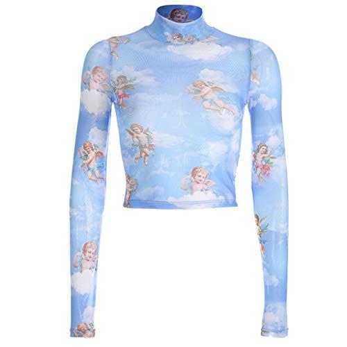 Bingbian Damen-T-Shirt, langärmelig, romantisch, bedruckt, Engel, Amor,...