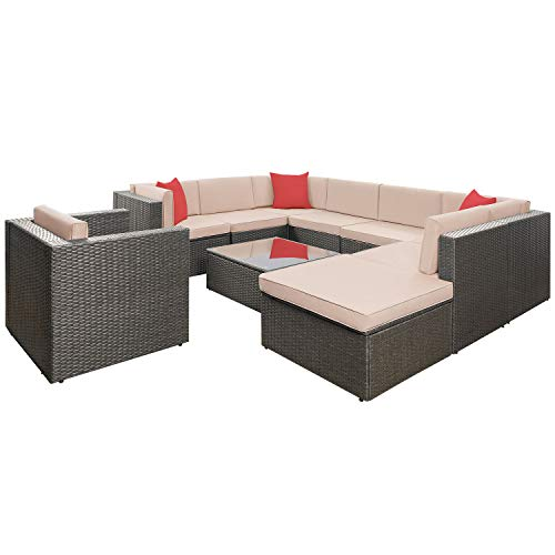 Flamaker 10 Pieces Wicker Sectional Furniture Set Patio Furniture Set Cushioned Sectional Sofa Outdoor Rattan Sofa Set with Cushions and Coffee Table (10 Pieces)