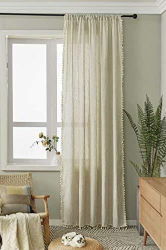 Deamos Boho Vorhänge Beige Landhausstil Baumwolle Leinen mit Quaste Gardinen,Wohnzimmer Schlafzimmer Gardine,1 Stück,B150×H240cm