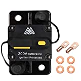 M1A2 Circuit Breaker 200A Waterproof Fuse Inline Holder Resettable Fuse Manual Reset 12V-48V DC for Car Audio RV Home Marine Boat Truck Trolling Motors