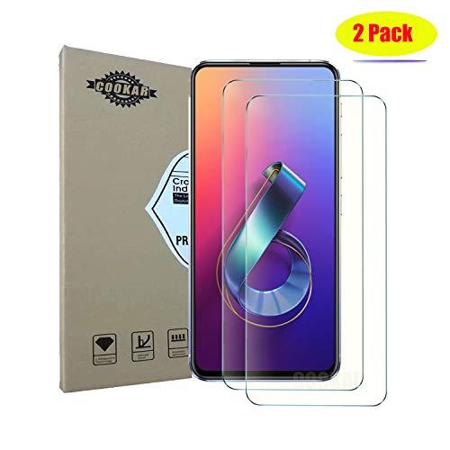 cookaR vidro temperado ASUS Zenfone 6z 2019 ZS630KL, compartimento compatível, cobertura total, [2 Pieces] 9H dureza, filme anti-risco de proteção para ASUS ZS630KL Smartphone