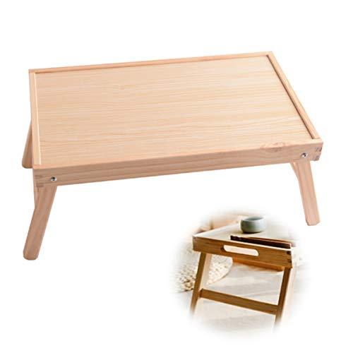 Trälaptopskrivbord, fällbart sängbord och sängbricka, med bärbart handtag, lämplig för läsning, skriva och äta i sängen/soffan/studentrummet