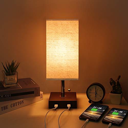 Kakanuo Lampe de chevet USB, lampe de table moderne en bois massif avec 2 ports USB et interrupteur à tirer, abat-jour en tissu beige lampe de bureau pour chambre à coucher ou bureau