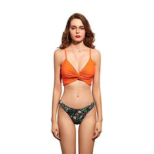 NgMik Trajes de baño de Dos Piezas Traje de baño Dividido de Verano para Mujer con Pecho de Pecho sin Soporte de Acero Bikini Floral Torcido Sexy Conjuntos de Bikini (Color : Orange, Size : Medium)