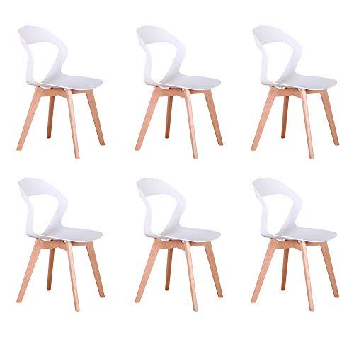 Naturelifestore - Sillas modernas de la silla del Openwork del respaldo minimalista moderno nórdico para la sala de estar, comedor, salón, 6 unidades (blanco)