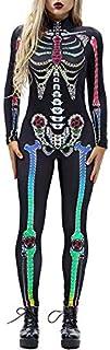 Scary Halloween Skeleton Print Costume Adulto Donna Horror Carnevale Tuta Maniche Lunghe Body La
