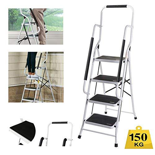 4 Stufen Klappstufen mit Handlauf Trittleiter Klappbar Leichte Stehleiter Anti-Rutsch-Schritte für die Reinigung der Küche im Home Office Dekorieren Lackieren 150 kg max Belastung