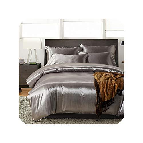 Juego de ropa de cama de satén de seda de color blanco y negro, tamaño King doble, para verano, juego de ropa de cama individual, juego de ropa de cama de china, juego de funda de edredón tipo 8, doble con sábana