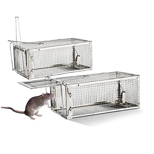 FORMIZON Trampa para Ratas, 2pcs Trampa Ratones Vivos, Ratonera Humana Ratones, Reutilizable y Sin Productos Químicos, Ratonera para Ratas del Hogar, Cocina, Ático, Garaje (Sencillo)