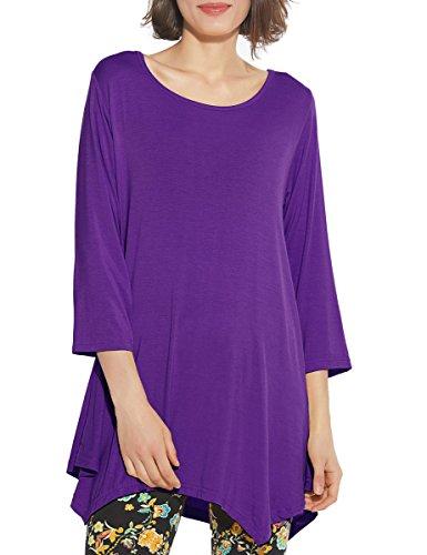 BELAROI Women 3/4 Sleeve Swing Tunic Tops Plus Size T Shirt (2X, Deep Purple)