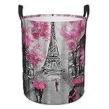 Grande cesto portabiancheria pieghevole vintage Paris Street Torre Eiffel, borsa porta vestiti impermeabile portatile per organizzare giocattoli