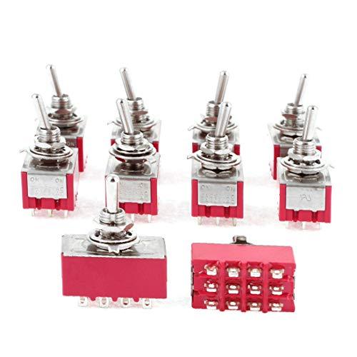 sourcingmap 5pcs Conmutador Rojo 2 posiciones ON-ON 12 Terminales 4PDT AC 250V//2A 120V//5A