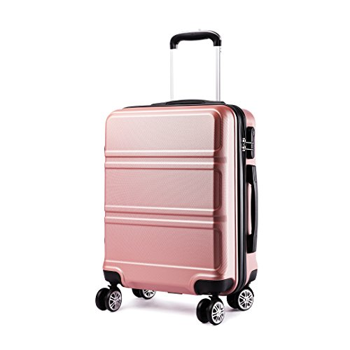 Kono 20 inch Cabin Suitcase Lightweight ABS Carry-on Hand Luggage 4 Spinner Wheels Trolley Case 55x40x22 cm(Nude)