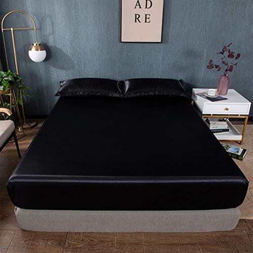 GIVO Sábana Ajustable elástica Ropa de Cama Satén Sedoso Funda de colchón para el hogar Twin Queen King Size 1 Piezas Sin Funda de Almohada 180x200cm, 040, Twin 99x190cm