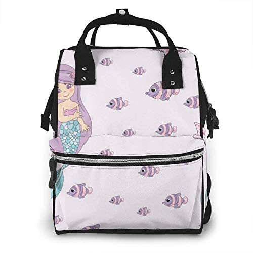UUwant Sac à Dos à Couches pour Maman Large Capacity Diaper Backpack Travel Manager Baby Care Replacement Bag Nappy Bags Mummy BackpackMermaid Smile Sea Travel Seamless Pattern Vector Image