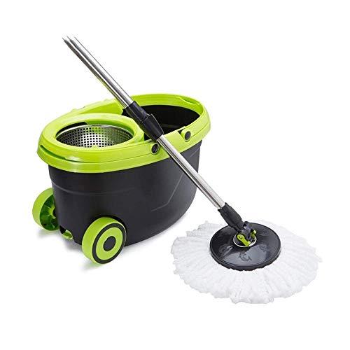 STRAW Trapeador, Acero Inoxidable Deluxe 360 Spin Mop y Sistema de Limpieza de Piso de balde Mango Incluido con Cabezales de Microfibra