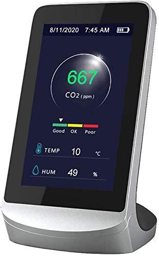 LIHAEI Kohlendioxid Detektor CO2 Melder,CO2 Messgerät,Hygrometer Luftqualitätsanalysator-Monitor mit Akku 4,3 Zoll Digital LCD Anzeige Professionelles (Wie Gezeigt) (Wie Gezeigt)
