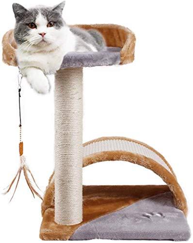 JR Knight Kratzbaum Kratzstamm für Katzen Kleiner Katzenbaum Kletterbaum Katzenkratzbaum mit Interaktives Spielzeug Katzenmöbel für Kätzchen Katzen zum Spiele und Krallenpflege