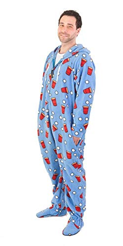 Forever Lazy Footed Adult Onesie - Beer Pong - XXL