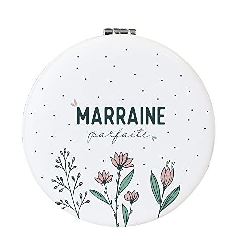 Miroir Marraine Parfaite | Pochette Cadeau en Coton Offerte | Cadeau Marraine, Miroir Marraine, Demande Marraine, Miroir de Poche