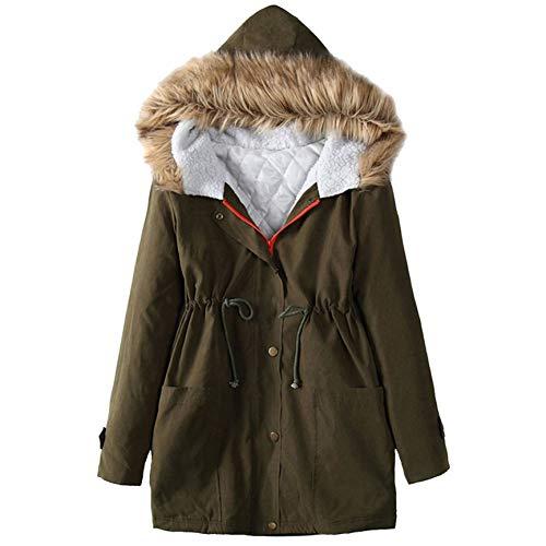 SHANGYI Winterjas en jas voor dames, winterjas met lange mouwen met capuchon, winddicht, warm ritsvak, voor dames