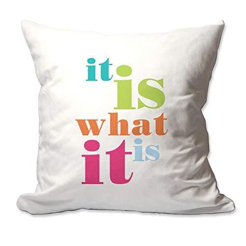 Qui556 Het Is Wat Het Is Gooi Kussen Cover Alleen Volledige decoratieve gooien kussen Zacht microsuede polyester