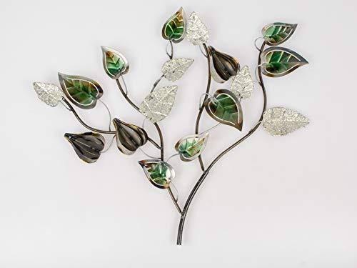 formano Wandbild, Wanddeko Blätterzweig B. 58cm grün Silber braun Metall