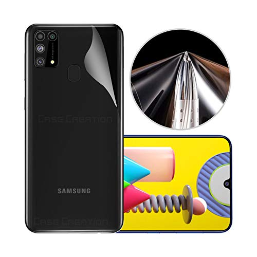 Case Creation Super Sleek Fit 3M Crystal Clear Transparent 3D Visible Back Skin Screen Guard Rear Protector Sticker Protective Film Wrap (Not Glass) for Samsung Galaxy M31 (HD Transparancy)