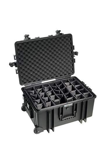 B&W Outdoor Case Hartschalenkoffer Typ 6800 mit Facheinteilung, anpassbar (Hardcase Koffer IP67, wasserdicht, Innenmaß 58,5x41,5x29,5cm, Schwarz)