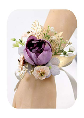 Hopereo Pulsera de corsarios para mujer, diseño de flores, color morado, rosa, para hombre, para boda, novio, 2 unidades