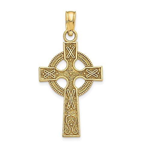 Solid 14k Yellow Gold Celtic Knot Irish Claddagh Cross Pendant Charm - 22mm x 13mm