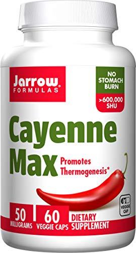 Jarrow Formulas Cayenne Max, Promotes Thermogenesis, 50 mg, 60 Veggie Capsules