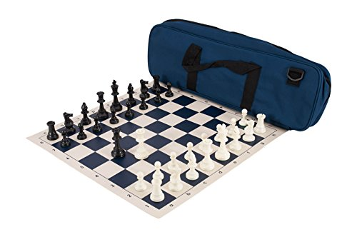 The House of Staunton, Inc. Deluxe Chess Set Combination - Single Weighted - by US Chess Federation (Navy Blue)