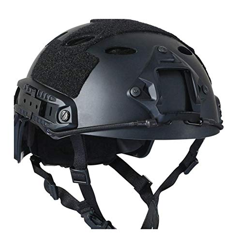 Dybory Lightweight Tactical Fast Hunting Helmet, Airsoft Gear Head Protective Helmets, Oval Hole OPS Adjustable Suspension Riding,Black