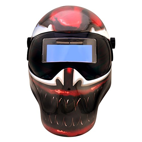 Save Phace Auto Darkening Welding Helmet Marvel Carnage EFP F-Series - Ear to Ear Vision Welder Hood Grinding Mask with 4.3 x 2 Inch Adjustable ADF for SMAC/MIG/TIG - 2 Sensors Solar Powered (3012640)